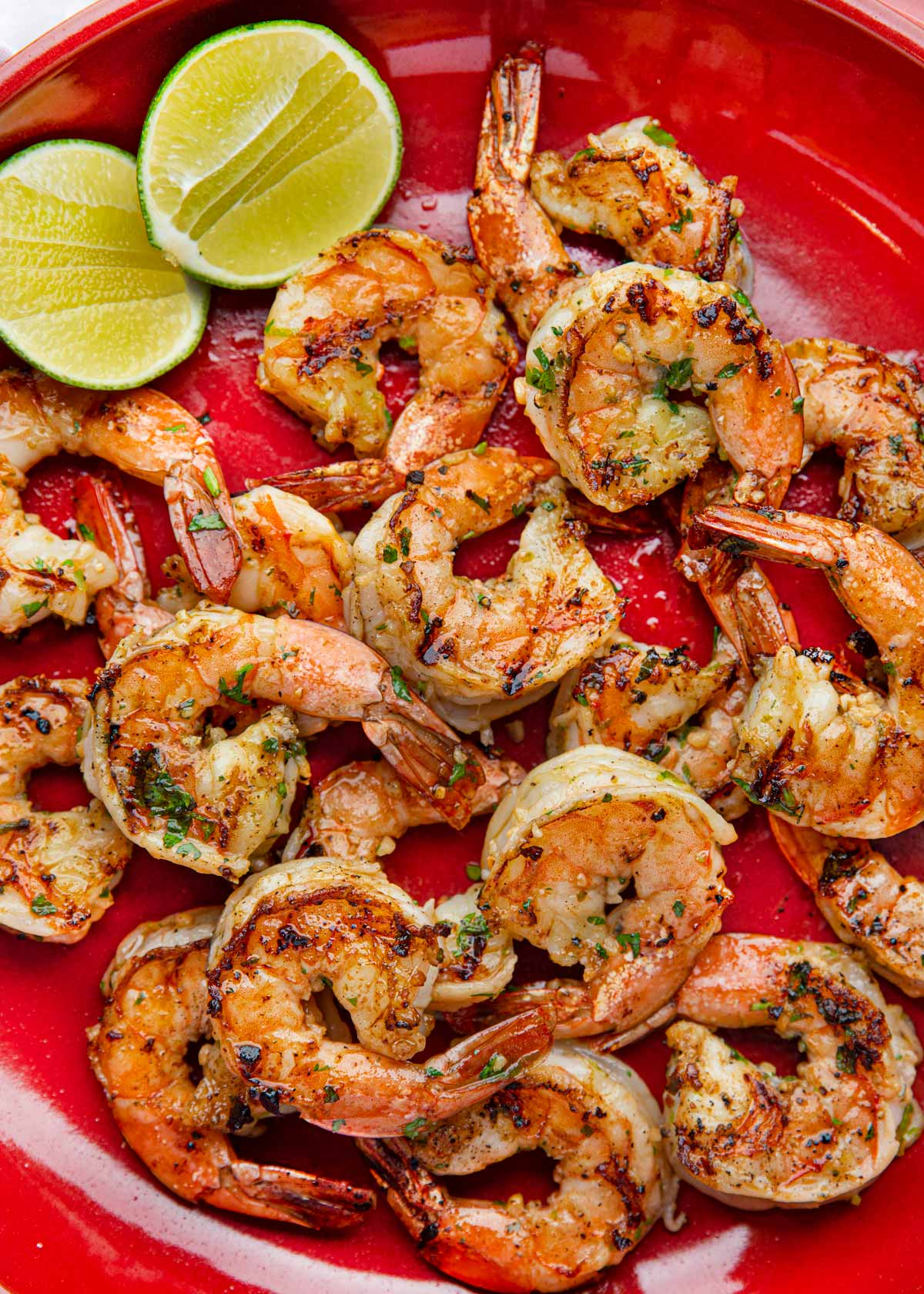 Cilantro Lime Shrimp on plate top-down view