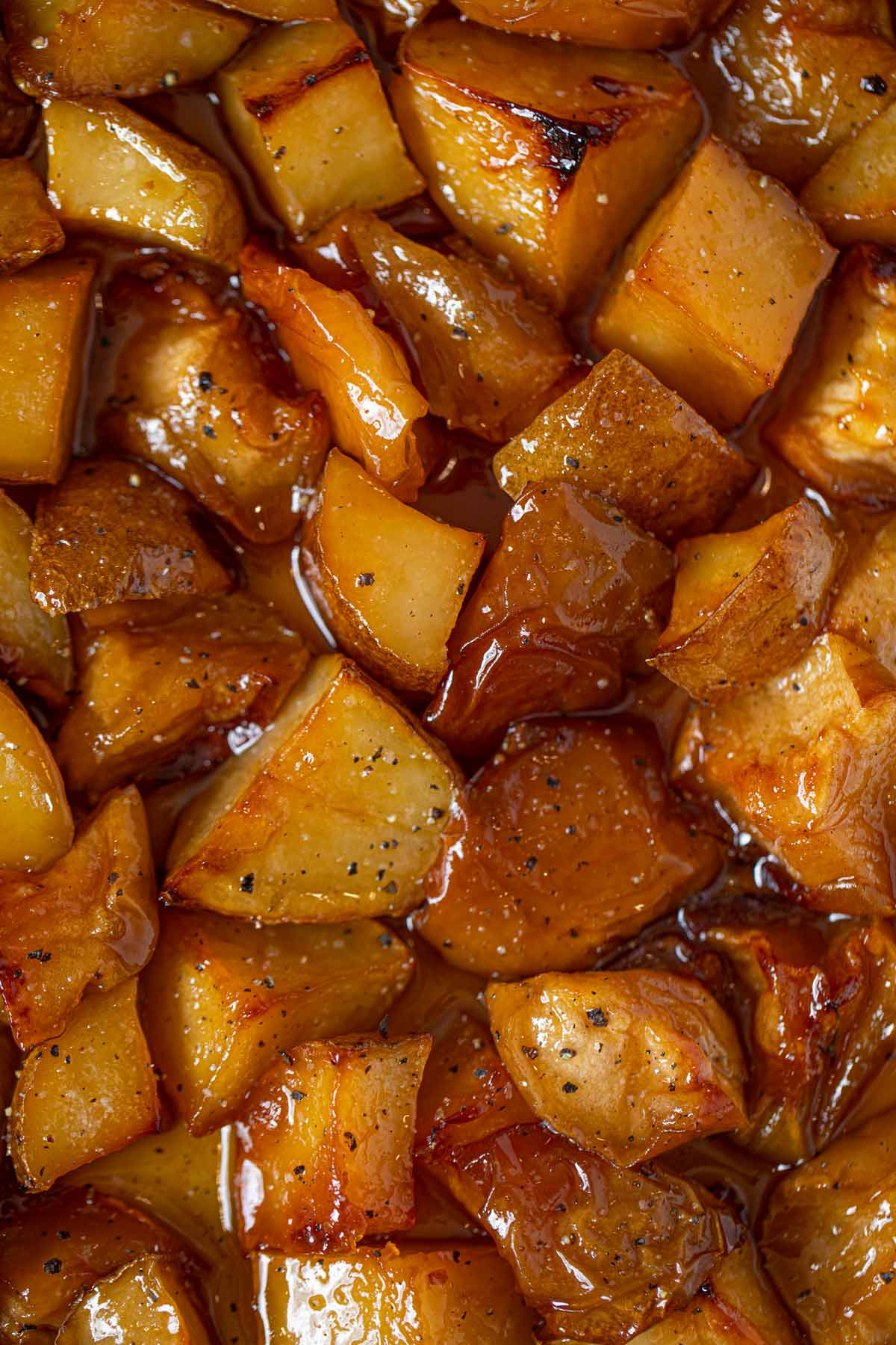 Honey Roasted Apples and Potatoes close up view