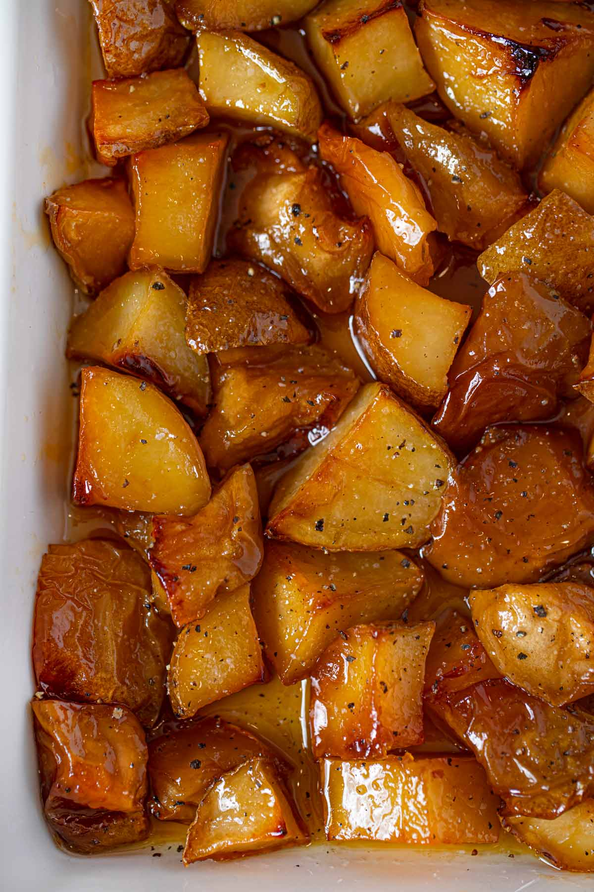 Honey Roasted Apples and Potatoes in baking dish