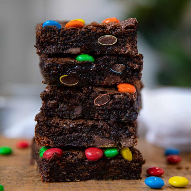 M&M Brownies in stack