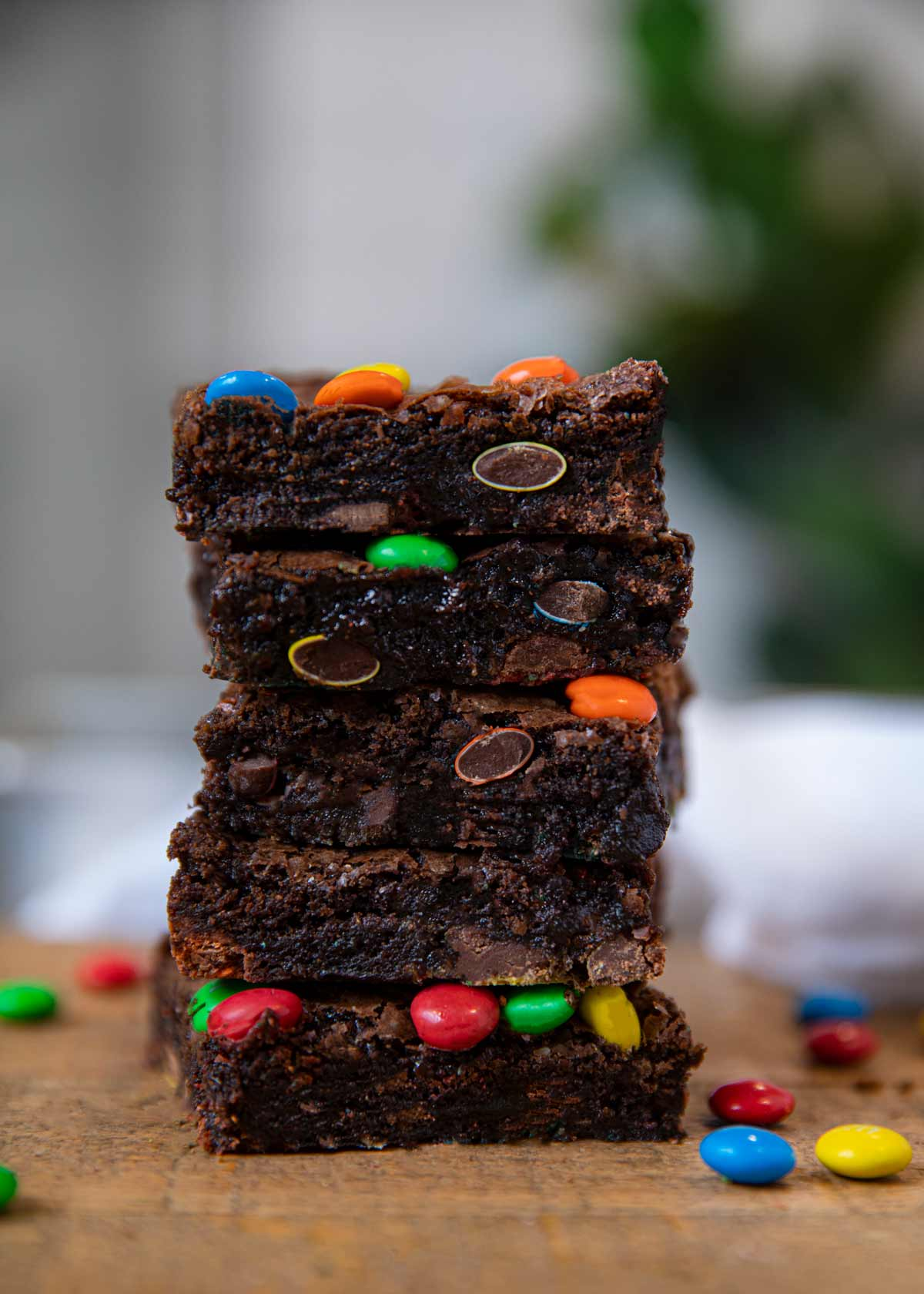 M & M Brownies in stack