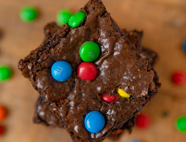 M&M Brownies in stack, top-down view