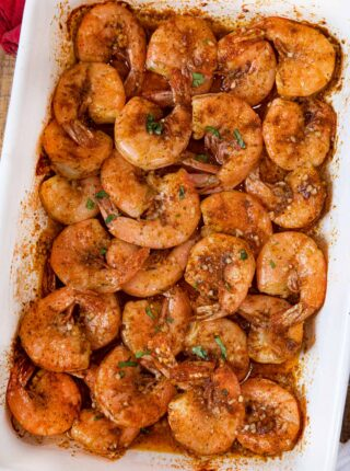 Old Bay Roasted Shrimp in baking dish