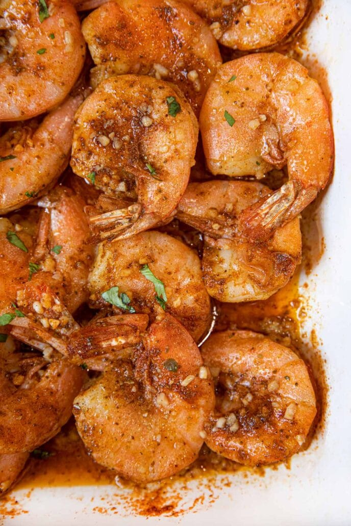 Old Bay Roasted Shrimp in baking dish