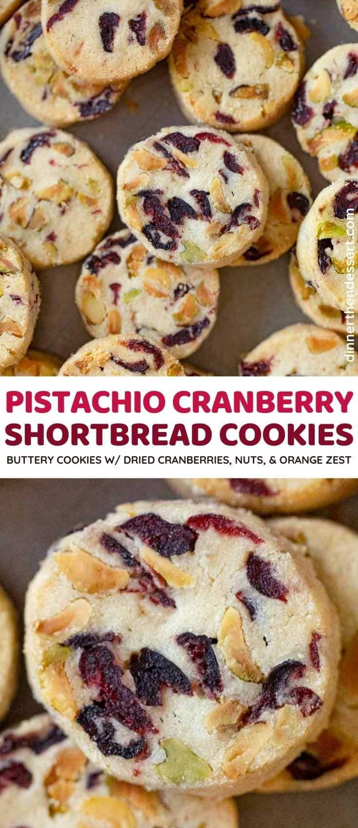 Pistachio Cranberry Shortbread Cookies collage