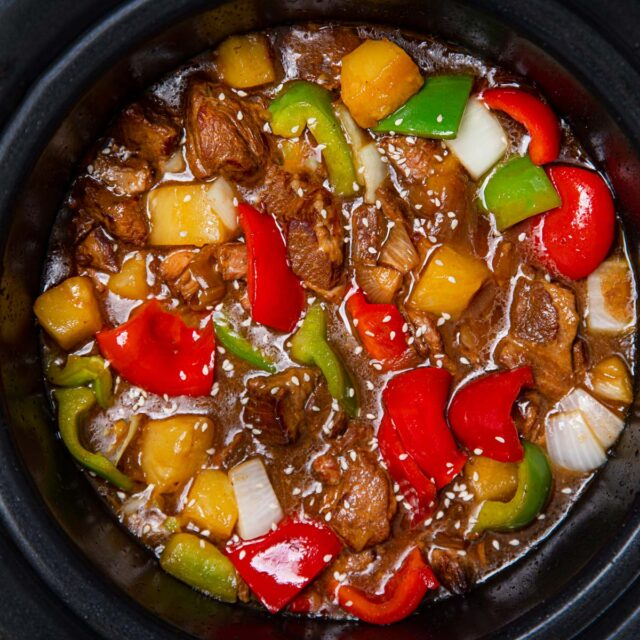 Slow Cooker Sweet and Sour Pork in crock pot
