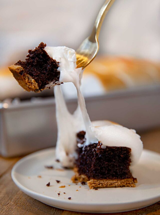 S'mores Sheet Cake slice with fork