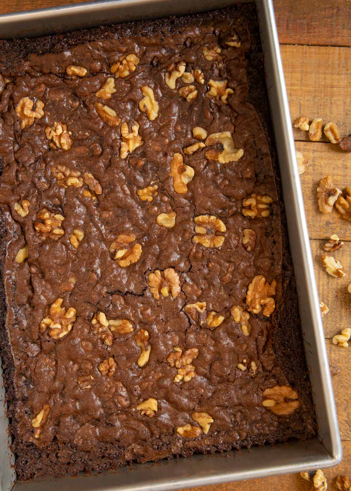 Walnut Brownies uncut in baking dish