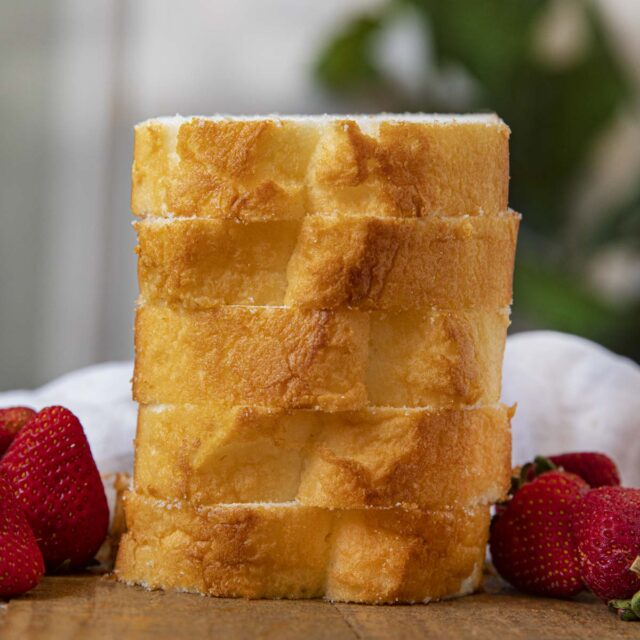 Angel Food Loaf Cake stack