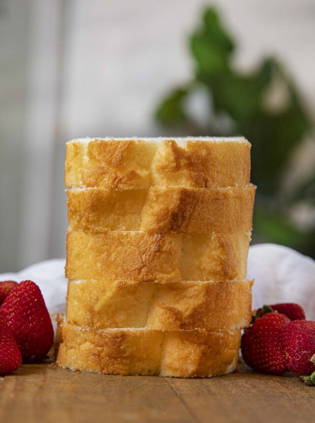 Stack of Angel Food Loaf Cake slices