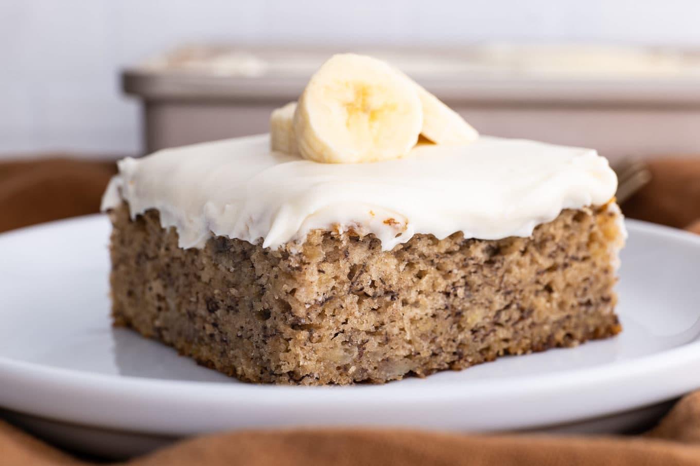 Easy Banana Cake slice on plate
