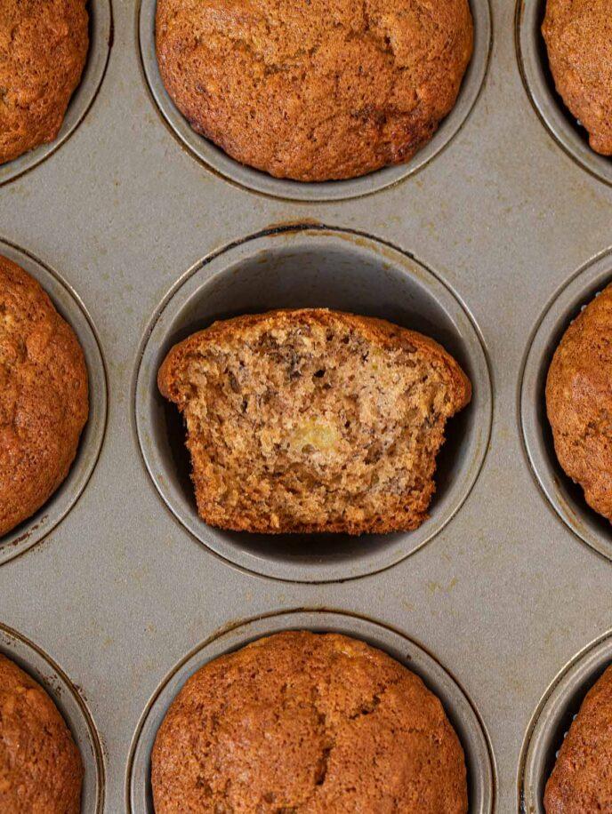 Banana Muffin half in muffin tin