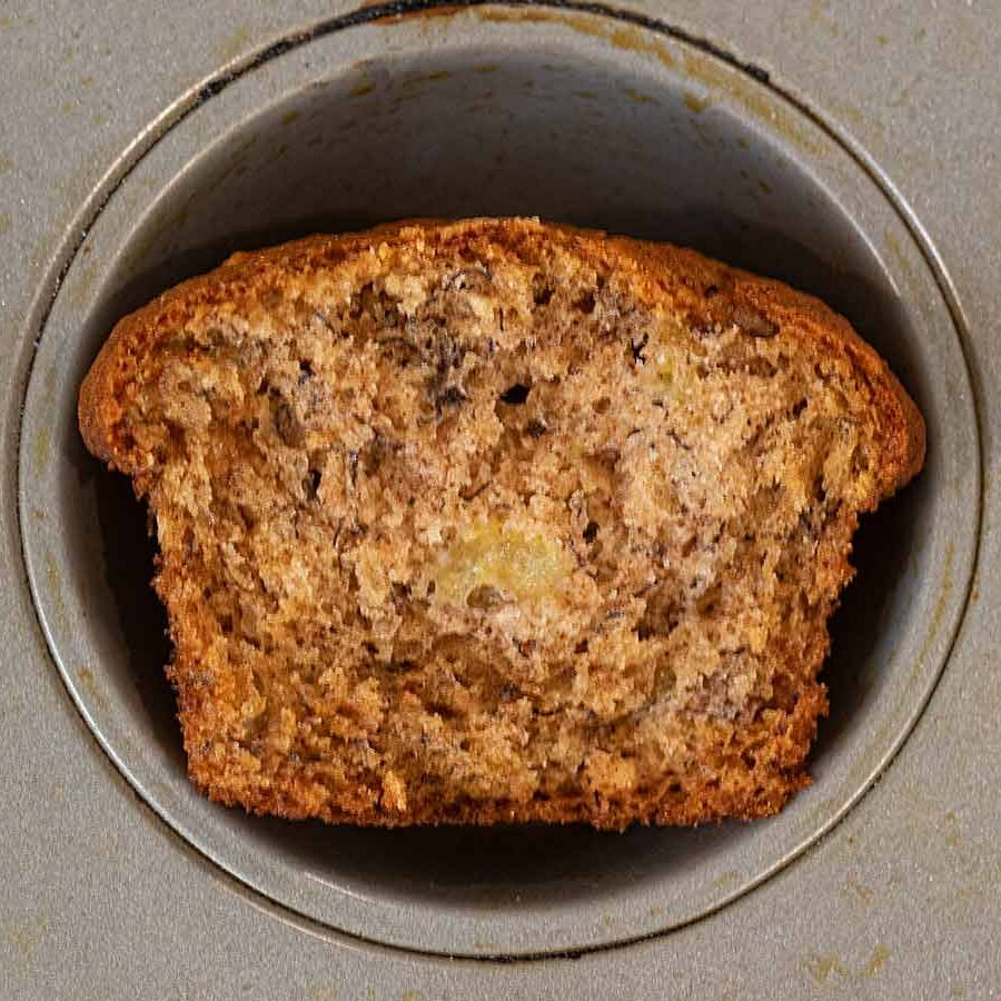 Banana Muffin in grey muffin tin