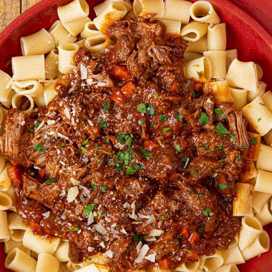 Slow Cooker Beef Ragu over pasta