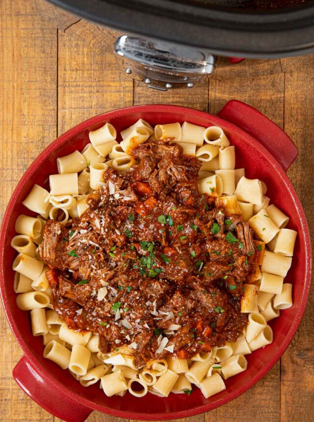 Slow Cooker Beef Ragu in Red Bowl