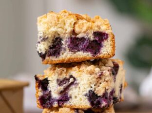 Slices of stacked Blueberry Buckle