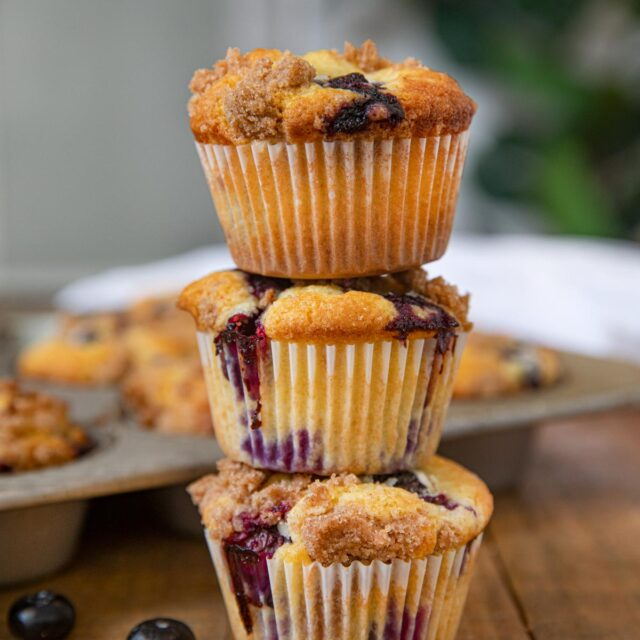 Stack of Blueberry Crumb Muffins