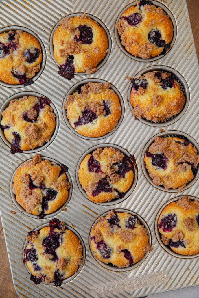 Blueberry Crumb Muffins in muffin tin