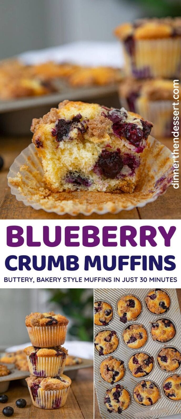 Blueberry Crumb Muffins collage