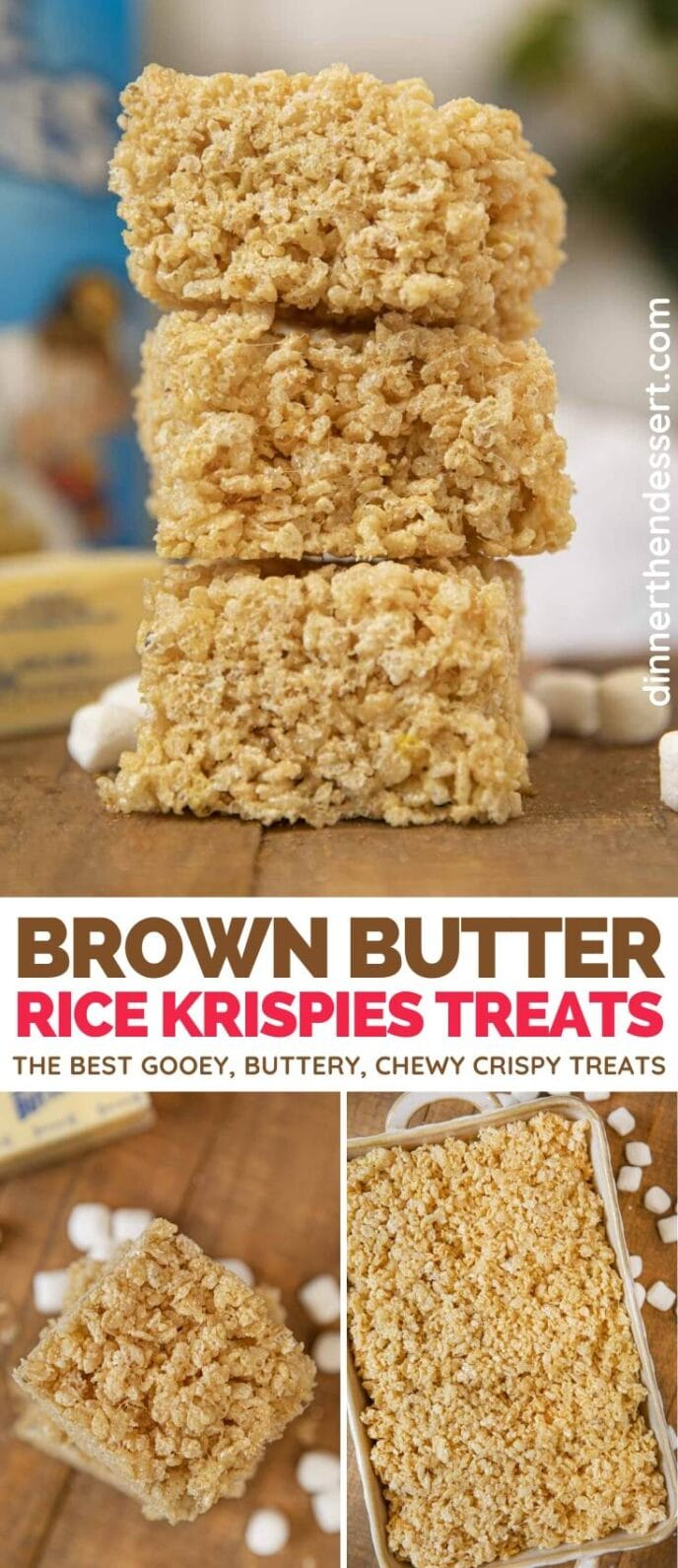 Brown Butter Rice Krispies Treats collage