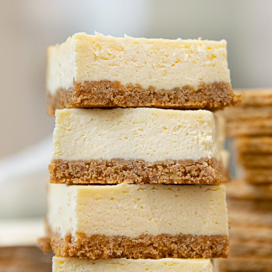 Cheesecake Bars in a stack