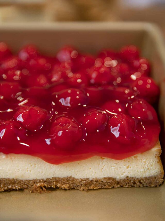 Cherry Filling over Almond Flavored Cheesecake Bars