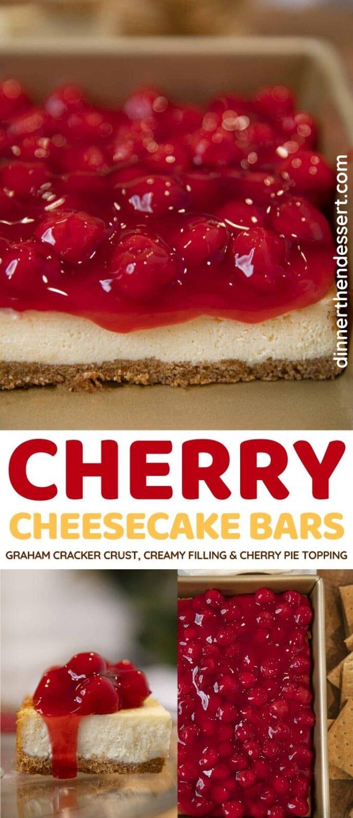 Cherry Cheesecake Bars collage
