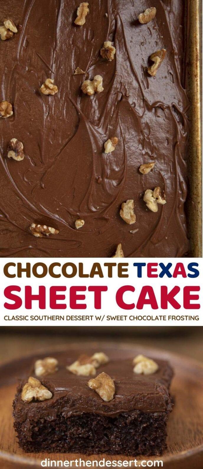 Chocolate Texas Sheet Cake collage