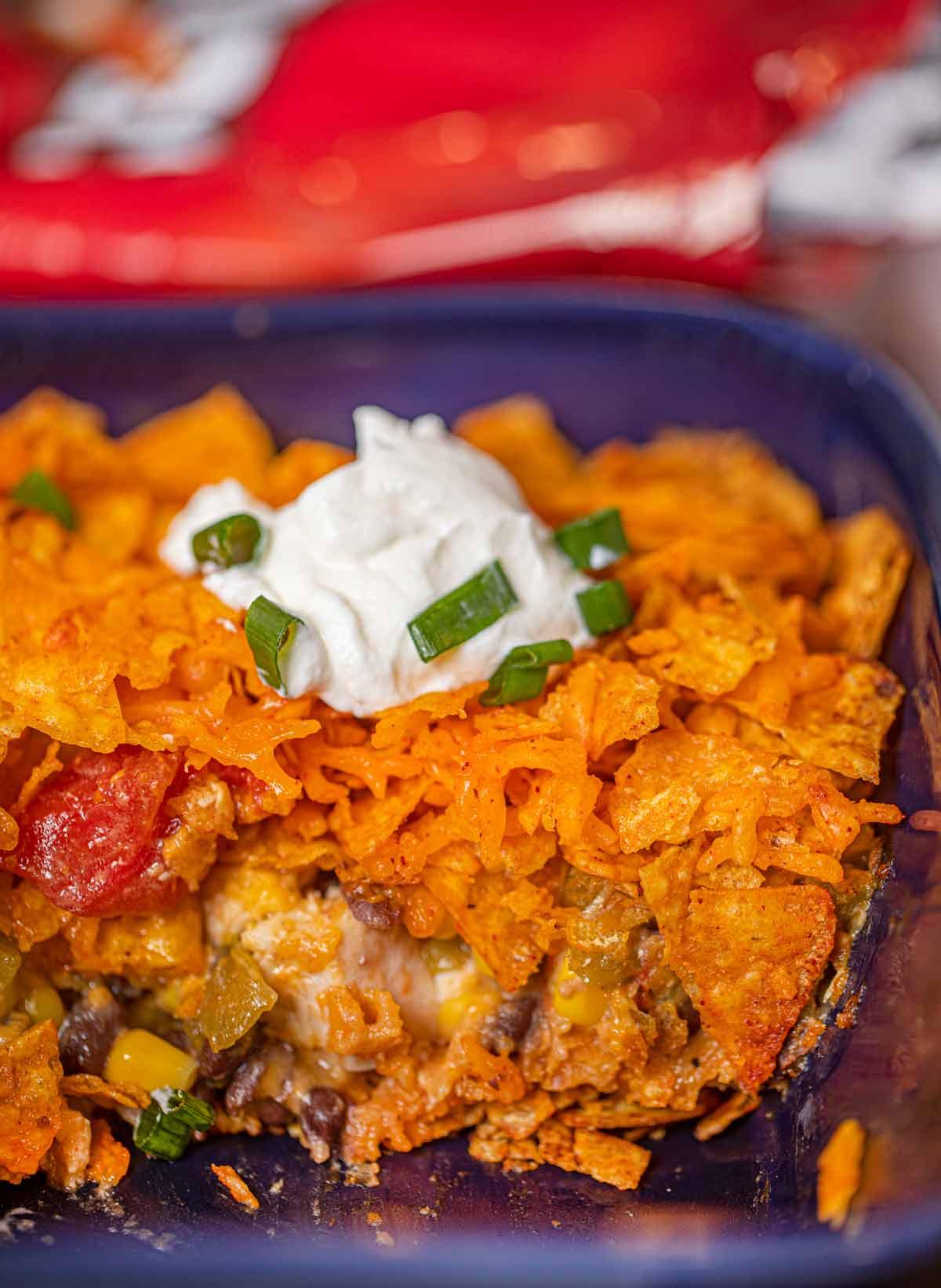 Doritos Chicken Casserole in baking dish
