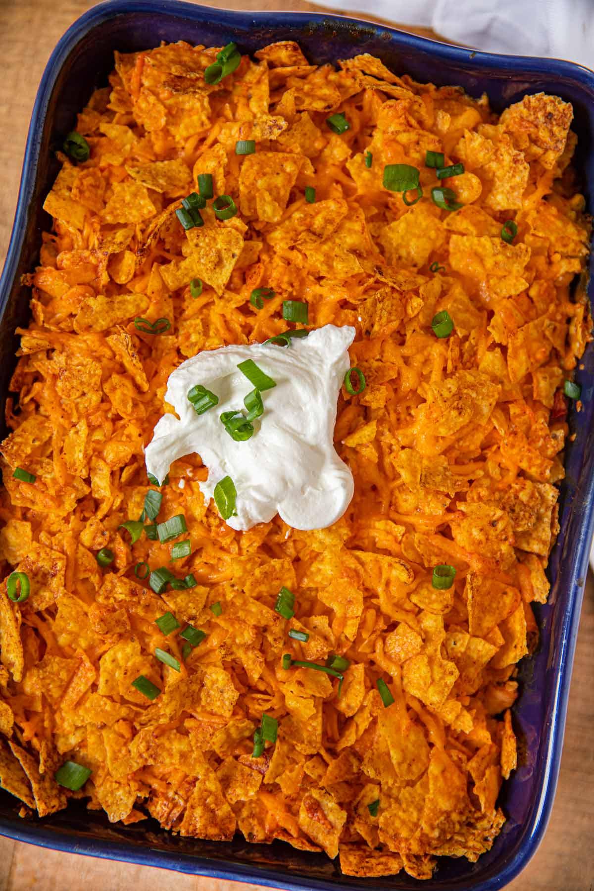 Doritos Chicken Casserole top-down view