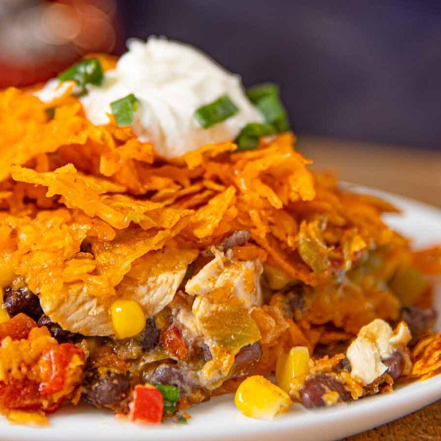 Doritos Chicken Casserole serving on dish