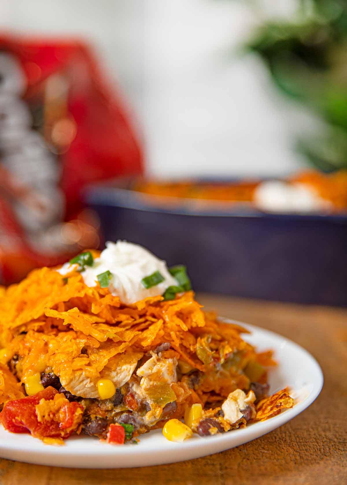 Doritos Chicken Casserole serving on plate