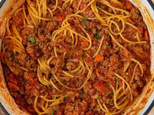 Spaghetti Bolognese in large pot