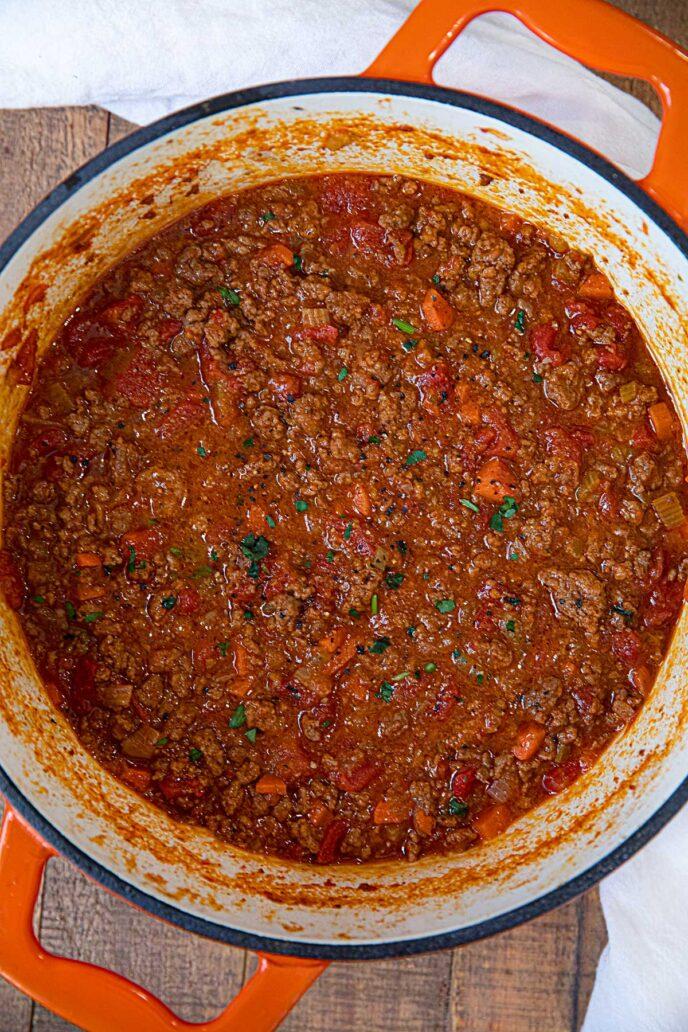 Spaghetti Bolognese Sauce in pot
