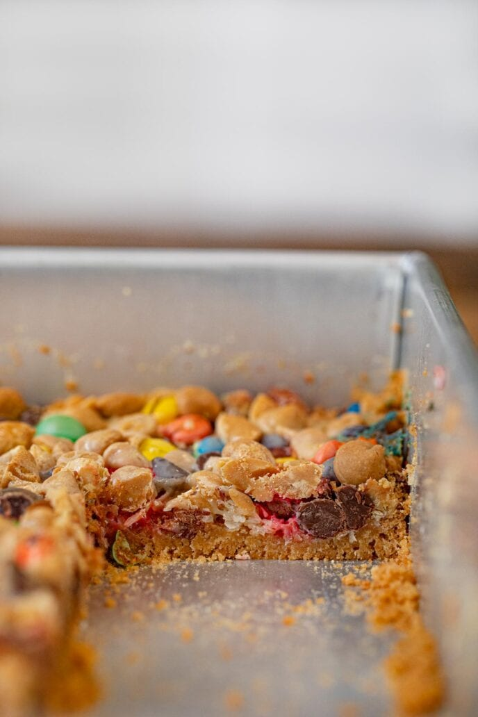 Magic Monster Layer Bars in baking dish, cross-section