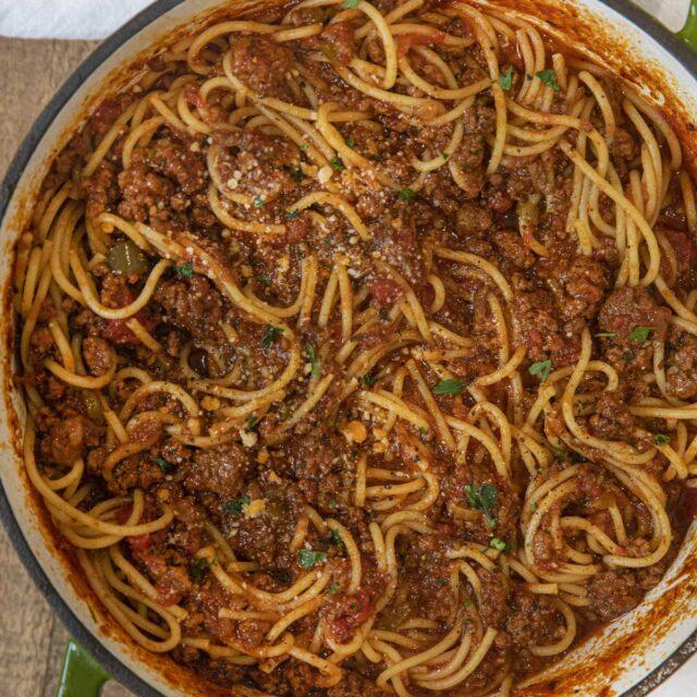 Meat Sauce on spaghetti in pot