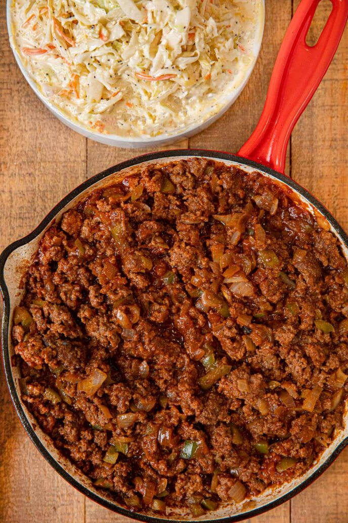 Memphis Sloppy Joes in pan with Cole Slaw