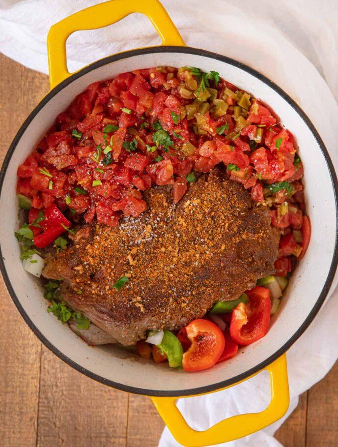 Mexican Pot Roast Ingredients in Dutch Oven