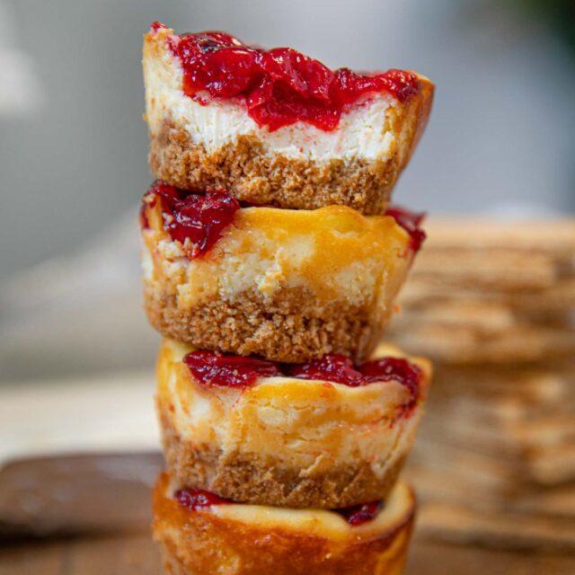 Stack of Mini Cherry Cheesecakes