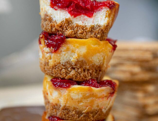Stack of Mini Cherry Cheesecakes