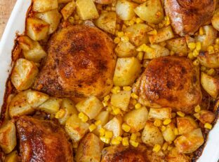 Old Bay Chicken and Potato Bake with Corn