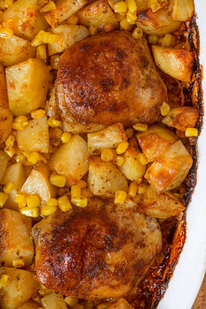 Chicken Bake with Potatoes, Corn and Old Bay Seasoning