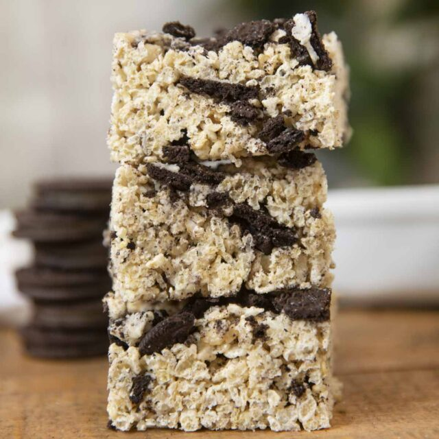 Oreo Rice Krispies Treats in stack