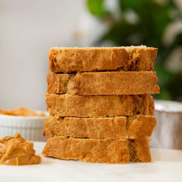 Peanut Butter Bread Sliced in a stack