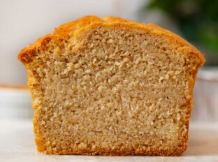 Sliced cross section of peanut butter bread loaf