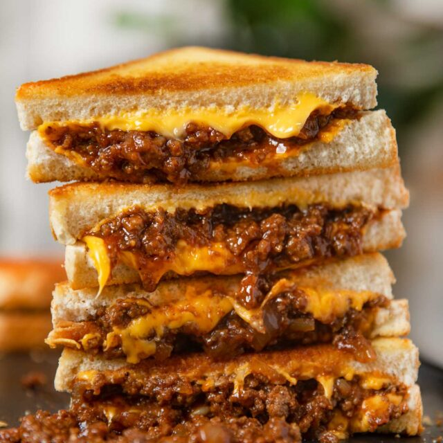 Sloppy Joe Grilled Cheese in a stack