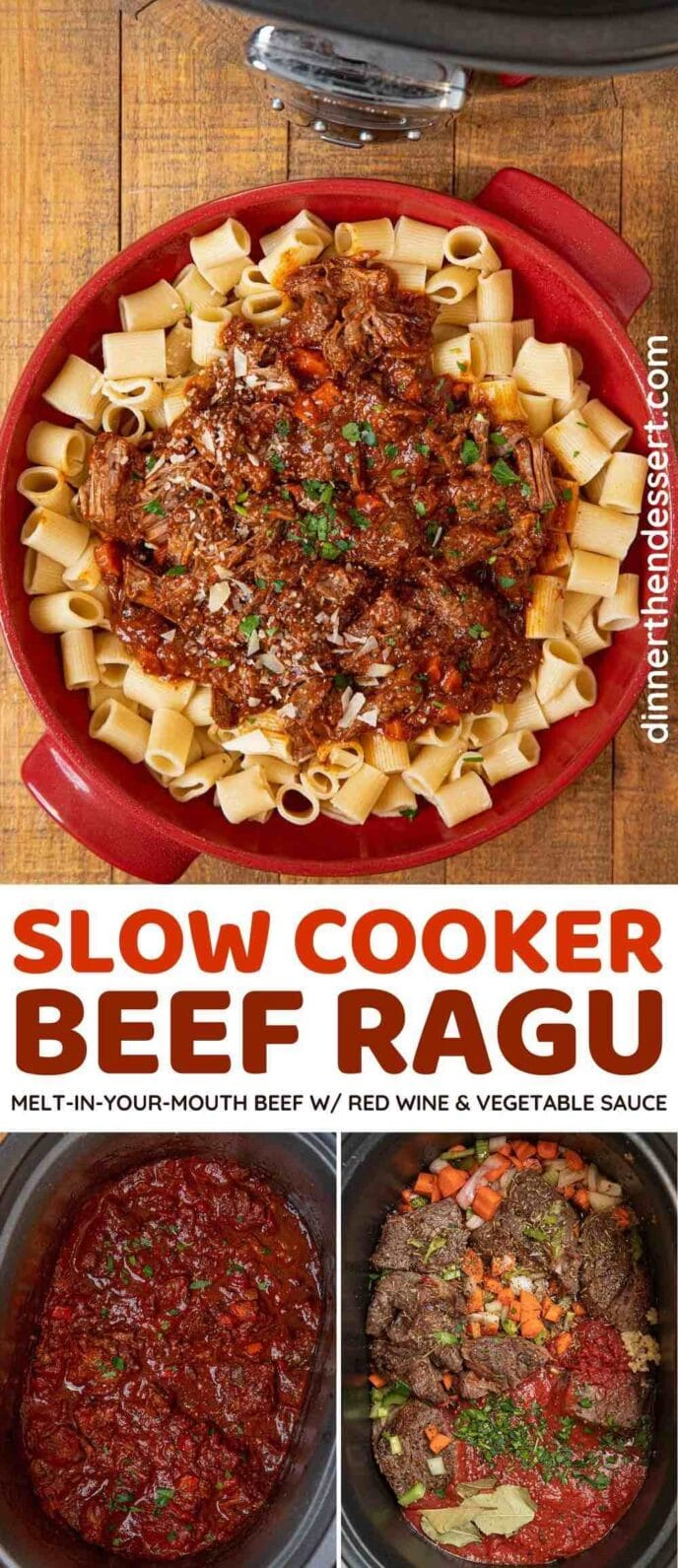 Crockpot Beef Ragu collage