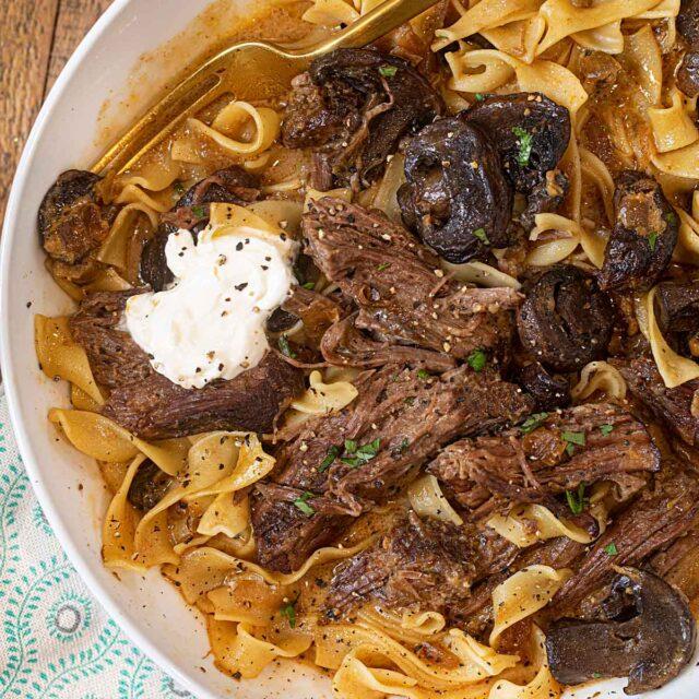 Crock Pot Roast Beef Stroganoff