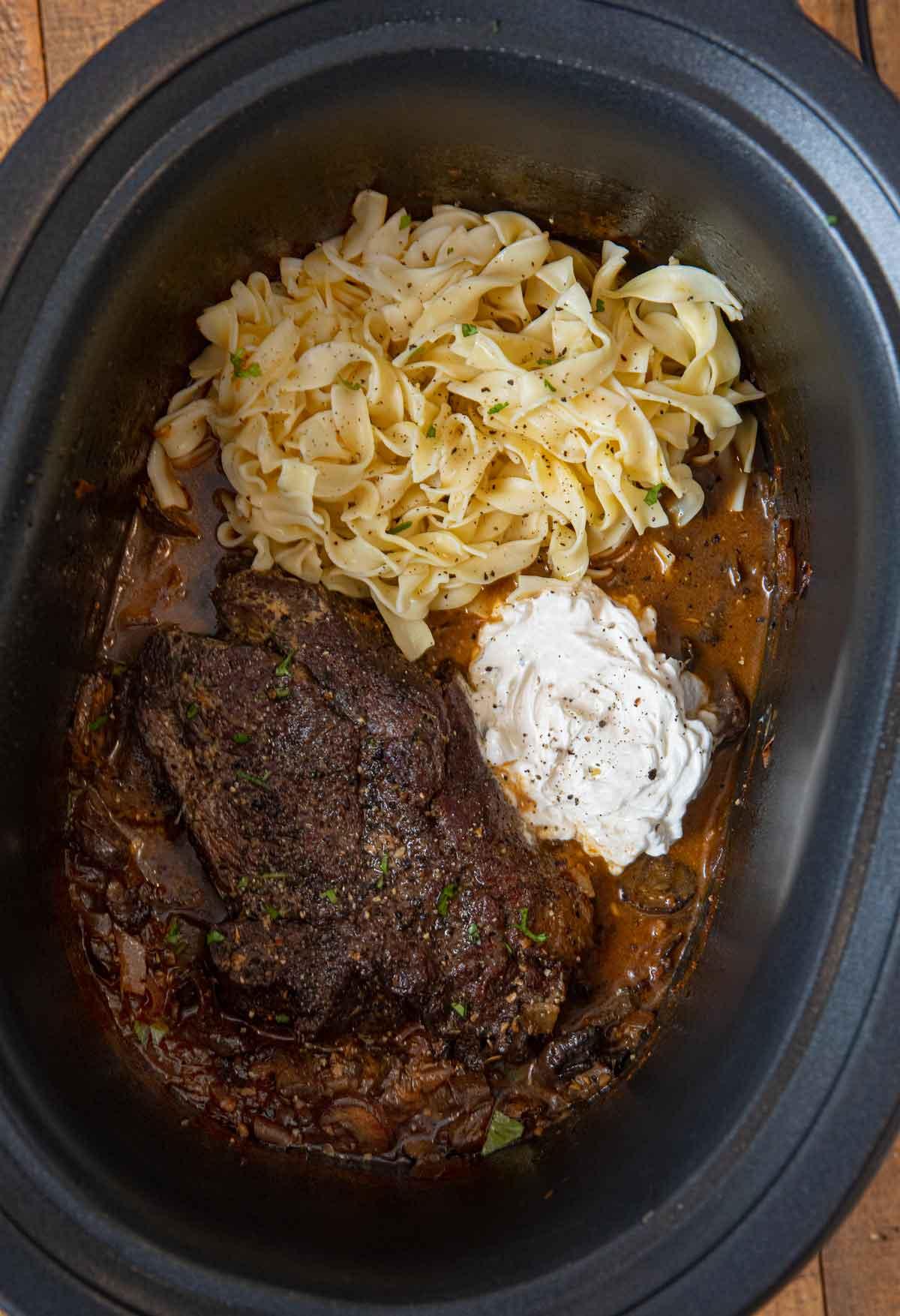 Slow Cooker Pot Roast Beef Stroganoff Crock Pot Dinner Then Dessert