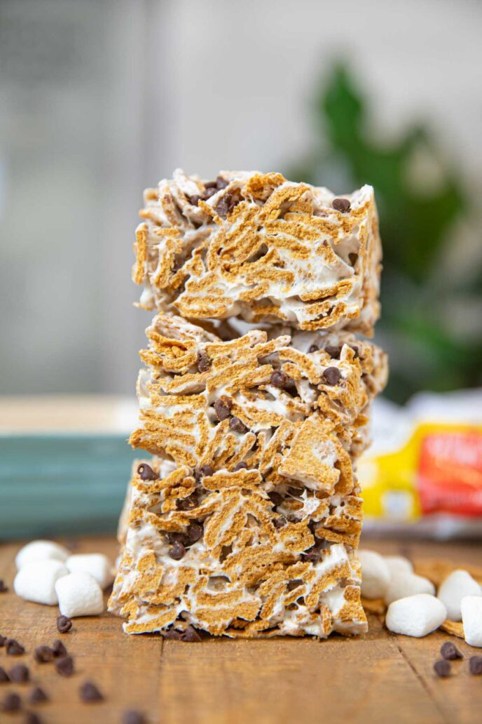 Stack of S'mores Cereal Bars
